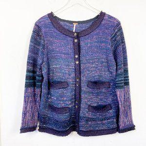 Free People Knit Boho Button Up Cardigan Sweater L